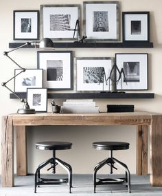 A minimalist, monochrome, and all around inspiring desk for two.
