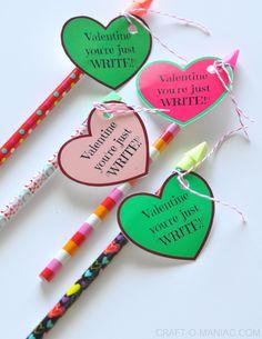 """DIY Valentines~ """"Valentine You're Just WRITE!"""" #nocandyvalentines"""