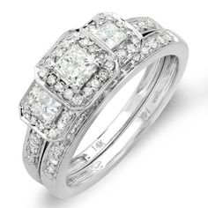 1.00 Carat (ctw) 14k White Gold Round  Princess Cut 3 Stone Diamond Ladies Engagement Ring Matching Wedding Band Set - This lovely diamond engagement Bridal Ring Set featuring 1.00 ct white diamonds in Prong setting. All diamonds are sparkling a