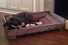 Your dog will be relaxing in style with this handmade reclaimed pallet dog bed. This dog bed is created from new pallets but with the look of an old, reclaimed pallet. It fits a standard crate pad. Options for custom dog beds are available. Select your wood stain for the dog bed. A perfect rustic dog bed for a dog lover, handmade and made in America. $99.00. http://aftcra.com/item/2929