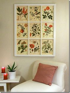 use an old window frame and put pictures or fabric behind it! Makes great wall decor!