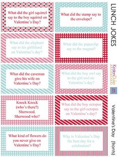 Valentine Lunch Box Jokes [Valentine Printables] cc will lovw!!