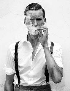 Style années 50 #look #mode #annees50 #chemise #bretelles #cigarette #mensfashion #menswear #shirt #suspenders #50s #smoking