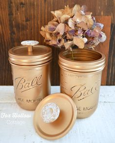 Metallic Gold Spray Painted Ball Mason Jars - Vintage Hardware Knobs - foxhollowcottage.com