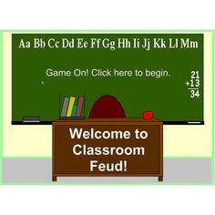 FREE download. Classroom Feud is a team game, so start by split  class into 2 teams, & pick 1st 2 players. Ask a mental math question. When they know the answer, the student has to touch their side of the board. The one who touches first, & answers the question correctly, is the winner.     When a question is answered correctly, they are taken to the score board where they roll a dice to determine the no. of points they win for their team.