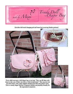 Trendy Doll Diaper Bag Pattern PDF by MixiHeart on Etsy