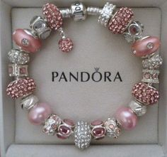 "Pandora Bracelet Silver 8 3 with Charms ""Pink Champagne"" 