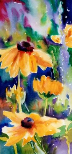 Blackeyed Susans Splash - watercolor by ©Kay Smith (DailyPainters)