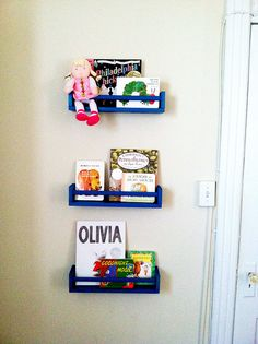 ikea spice rack book racks- we have 3 painted blue