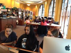 Girls working hard on Day 3 of the International Women's Hackathon at Montclair State University!