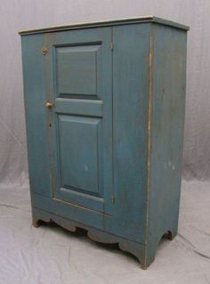 """Early 19th c. cupboard having single door with twin raised panels. 36 1/2"""" W , 20"""" D , 53"""" HT"""