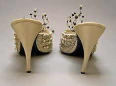 Christian Dior Haute Couture Evening Slippers Shoes from 1960 by designer Roger Vivier. Made from leather, plastic, silk and embroidered with metalic thread pearl and glass beads. #Christian #Dior #Fashion House of Dior.