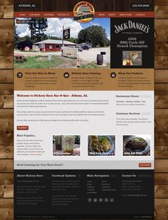 Custom restaurant & BBQ #webdesign built on Joomla 2.5 for Hickory Barn Bar-B-Que in Athens, AL. Over 50 module positions, 10 extensions including shopping cart & j2store. webdesign, athen