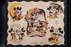 Traditional mickey/Minnie tattoo