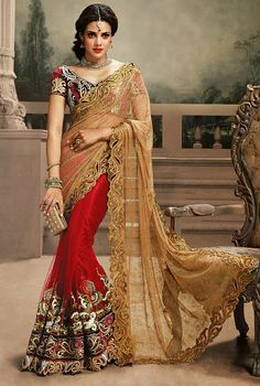 Fantabulous Red and Walnut Brown Saree