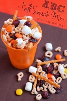 afterschool snack, dinner, abc fall, abc snack, kids snack mix, preschool fall snacks, fun kids snack, snack mix kids, dessert