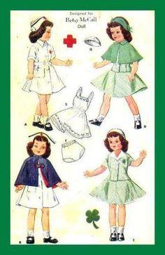 "Vintage Nurse Doll Pattern 14"" fits Toni Betsy Maggie Hoyer"