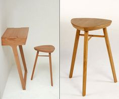 Wooden Quello Console Table and Stool Design Quello Console Table and Stool Design by Phil Proctor
