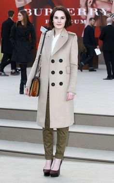 Michelle Dockery in Burberry | Tom & Lorenzo - lovely coat, olive pants, bag