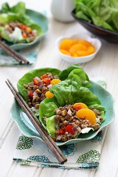 Ground Chicken Lettuce Wraps with Mandarin Oranges by @Katie Goodman
