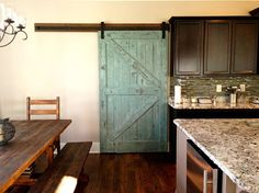 Sliding Barn Door - Reclaimed Pine - Turquoise/White Distressed Finish - 36 X 80