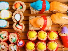 Easter Peep sushi- Use your imagination, rice crispy treats and fruit roll ups- so cute