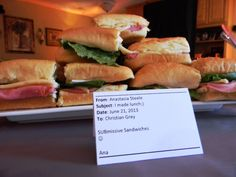 Fifty Shades of Grey party food - sub sandwiches