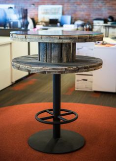 Meeting around wire spools is no new idea for a machinist, but why not introduce this rustic element into the workplace. Functional on all levels, this table provides space for your coffee cup below and your project report above. Provide a touchdown meeting space in the cafe or along a corridor for a quick meeting on the go.