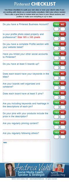 #Pinterest Checklist — #Infographic #socialmedia #SMO #SMOServices #Facebbok #Twitter #Pinterest #SocialNetworks #SEOSailor