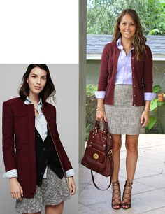 Great colors, great combo with cardigan and skirt. Shoes are not my style, but a cute tranditional heel or flat would be perfect.
