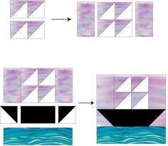 "Ship at Sea Quilt Block Pattern - 12"" & 6"" Blocks"