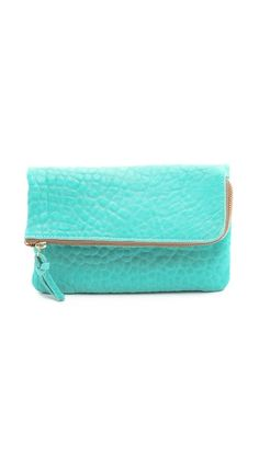 cute turquoise fold-over clutch