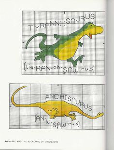 cross stitch dinosaur, cross stitches