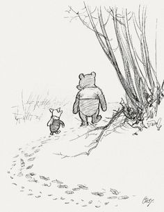 """An original E. H. Shephard drawing entitled """"He went on tracking, and Piglet… ran after him"""", for a Winnie-the-Pooh book c.1927"""
