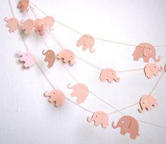 Elephant Garland - Baby Shower Garland - Baby Room Decoration - Paper Garland - Baby Pink Elephants. $9.00, via Etsy.