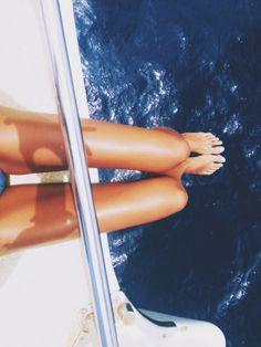 Everyday is a Runway  #TheLimited leg, seas, dream, summer travel, yacht, sail away, boat life, tan, deep blue sea