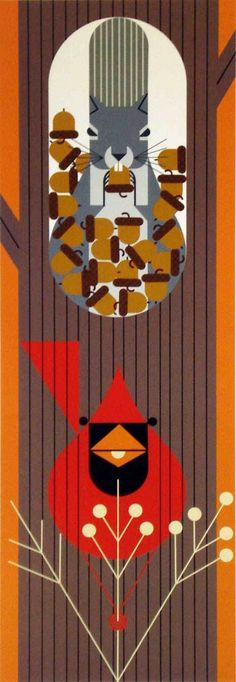 Charley Harper - October Edibles lithograph with squirrel and cardinal.