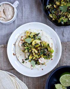 crispy kale, avocado & brussel sprout tacos w/ white bean cream