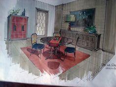 1960s interior, interior sketch, sketch interior