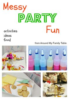 Messy Party (food, activities, and craft ideas)
