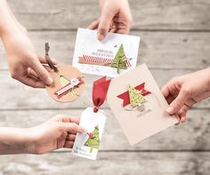 There are so many ways to use the Festival of Trees Stamp set and the Tree Punch.