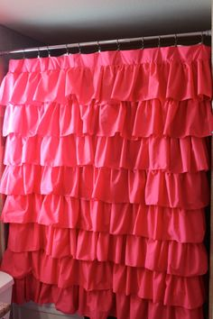 Hot Pink Ruffled Shower Curtain or window by SelahJamesHandmade, $150.00