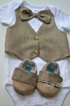 Brown Vest Onesie Bow tie Baby Boy Outfit by babyblushboutique, $48.00