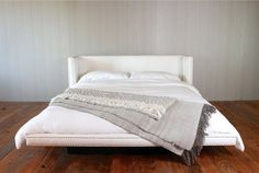 White Fabric Platform Bed  With Vintage Nails by CroftHouseLA, $1875.00