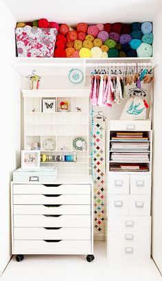 You don't need a lot of space to organize your crafts. Turn a closet into a tiny studio.