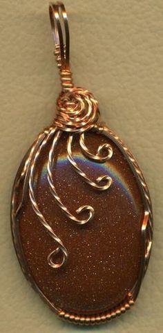 Brown Goldstone Glass Copper Wire Wrap Pendant
