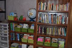 Book organization in baskets by levels