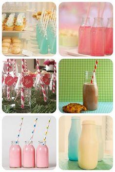 frappucino bottl, drink bottles for kids partys, starbuck bottl, milk glass, milk bottles, starbucks glass bottles, shower, party drinks, parti