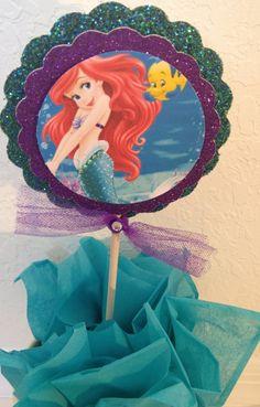 Little Mermaid Centerpiece, Little Mermaid cake topper, centerpiece stick