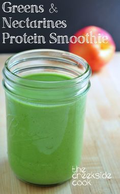 Greens & Nectarines Protein Smoothie - breakfast is solved! | The Creekside Cook